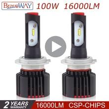 BraveWay CSP супер H11 светодио дный Ice лампы H7 светодио дный лампа для авто H4 светодио дный фар диода лампы для автомобилей H7 Canbus HB3 HB4 9005 9006 свет