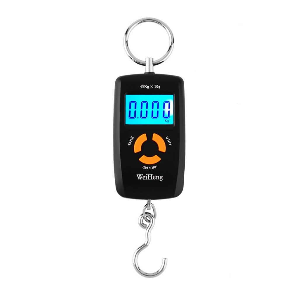 Balanza electrónica Digital portátil LCD de WH-A05L, 45kg/10g, gancho para colgar equipaje de pesca, balanza electrónica lb oz kg