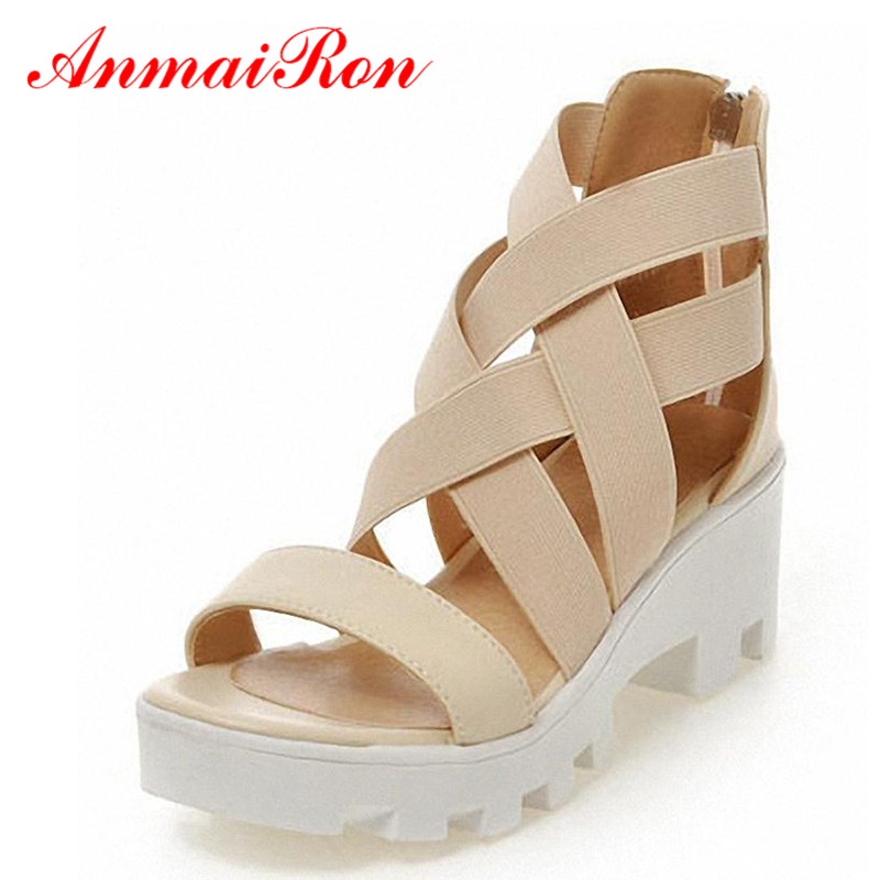 ANMAIRON New Size 34-43 Gladiator Cross Straps Sandals Fashion High-heeled Sandals Summer Shoes Women Open Toe Platform Sandals