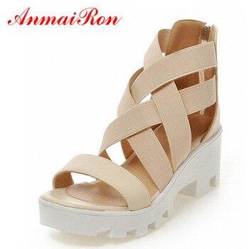 7f338fe1 ANMAIRON nuevo tamaño 34-43 gladiador Cruz correas Sandalias de tacón alto  de moda sandalias de verano zapatos de mujer punta abierta sandalias con ...