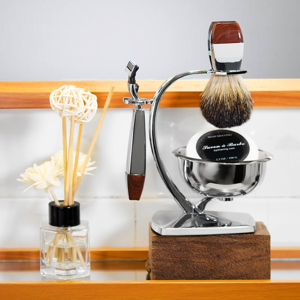 Grandslam Men Safety Razor Kit Badger Hair Shaving Set 5 layers Blade Razors Holder Stand Shaving