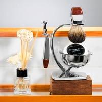 Grandslam Men Safety Razor Kit Badger Hair Shaving Set 5 layers Blade Razors Holder Stand + Shaving Cream Soap in Bowl Best Gift