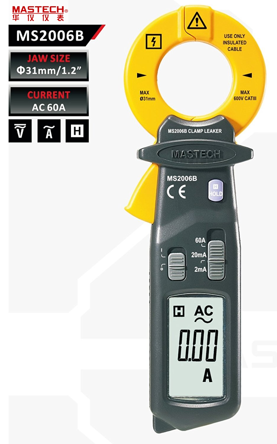 2017 New Brand New MASTECH MS2006B Digital Clamp Meters AC Current Tester AC Leakage Clamp Meter 0.001mA Resolution etcr6800 large diameter clamp leakage current meter leakage current tester clamp meter