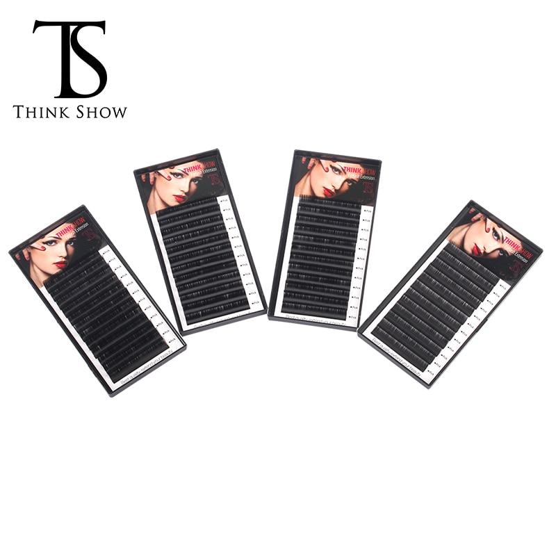 Thinkshow 4pcs/lot B/C/D Curl 8-15mm 3D Volume Russia Eyelashes Extension Individual Eyelash Natural Long Hand Made Mink Lashes