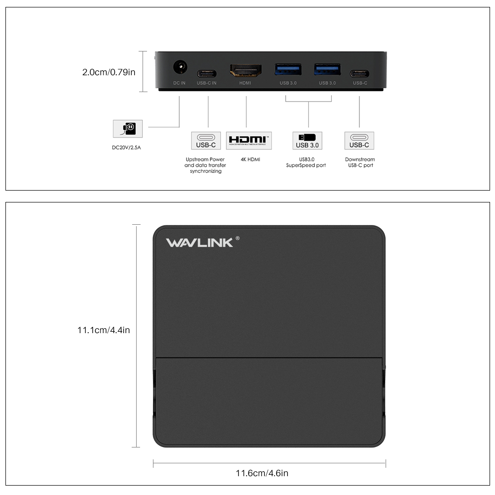 Image 5 - Wavlink Aluminum USB 3.0 Mini Docking Station USB 3.1 Gen 2 Type C