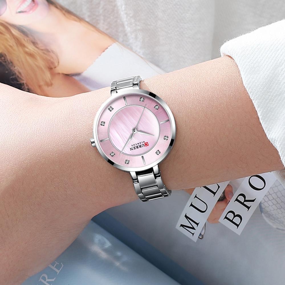 CURREN Luxury Lady Watch Pink Silver Slim Dial Stainless Steel Strap Rhinestone Diamond Quartz Female Girls Brand Watches Clock in Women 39 s Watches from Watches