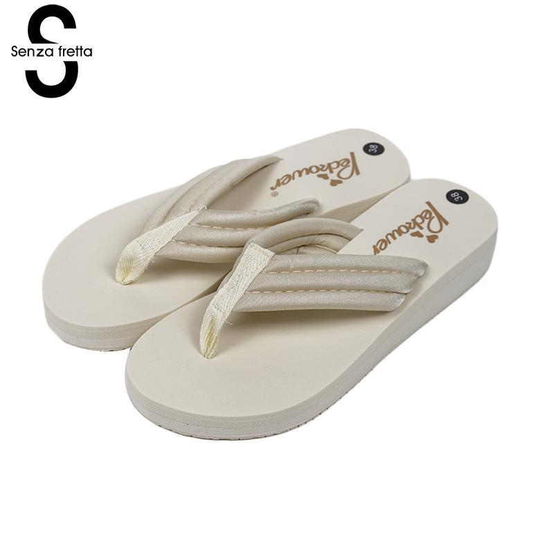 Senza Fretta Women Slippers Beach Women Flip Flops Casual Flip Flops Slippers Outdoor Flip Flops Wedges Heel Anti-skid Shoes senza fretta summer women indoor flip flops high heel flowers slippers thick beach flip flops sandals wedges platform slippers