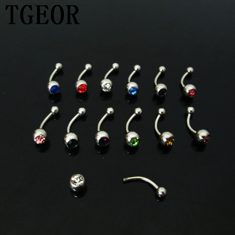 free shipping wholesale 60pcs 1.2*8*3/5mm mixed 12 colors gem stone curved barbell Stainless Steel piercing eyebrow ring