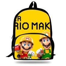 School Bag Super Mario Maker 2 Print Kids Backpack For Teenage Boys