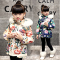 baby girls wadded jacket kids winter outerwear child cotton-padded jacket flower cotton-padded jacket parka thickening coats