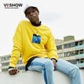 VIISHOW Ocasional Camisolas Casual Homens Amarelo Solto Moletom Com Capuz Hip Hop Capuz Personagem Impressão Casual Homens Hoodies WDZ2963