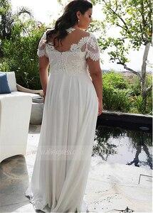 Image 2 - Brilliant szyfonowa Jewel v dekolt A line Plus rozmiar suknie ślubne z koralikowe aplikacje koronkowe krótkie rękawy suknie ślubne