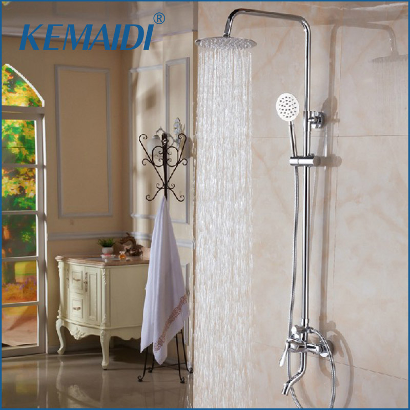 KEMAIDI Wholesale And Retail Luxury Chrome Finish Rain Shower Faucet Set Thermostatic Valve W/ Hand Sprayer Wall Mounted wall mounted rain shower set luxury square shower head 8 shower set with hand shower and control valve