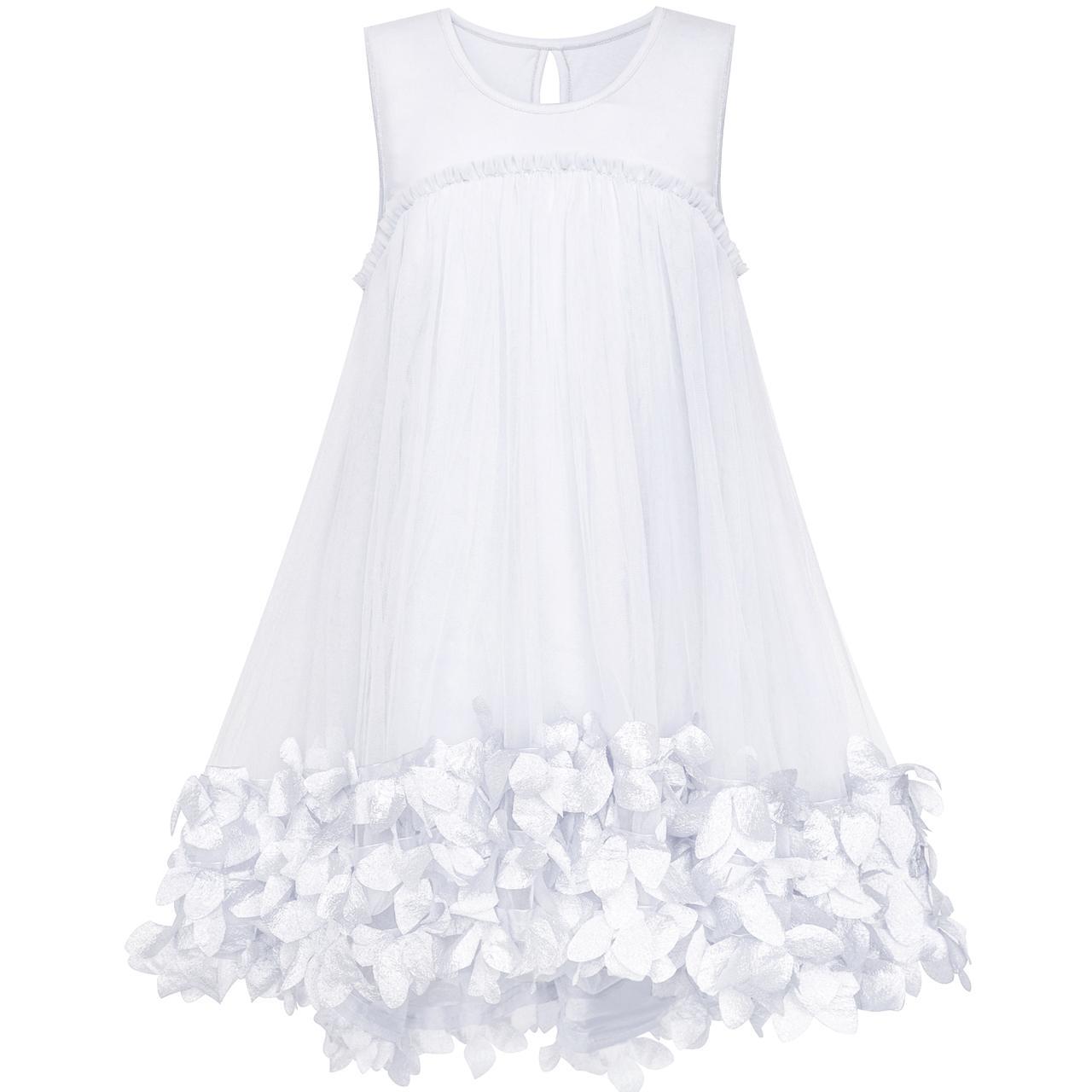 Sunny Fashion Flower Girl Dress A-line Cute Handbag White Princess Sundress Cotton 2018 Summer Wedding Party Dresses Size 5-10