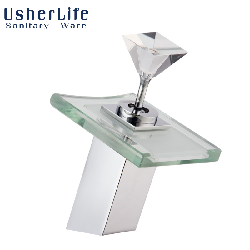Usherlife Chrome Brass Waterfall Fuacet LED Bathroom Basin Faucets Temperature Sensor Color Changing Deck Mounted Sink Mixer Tap