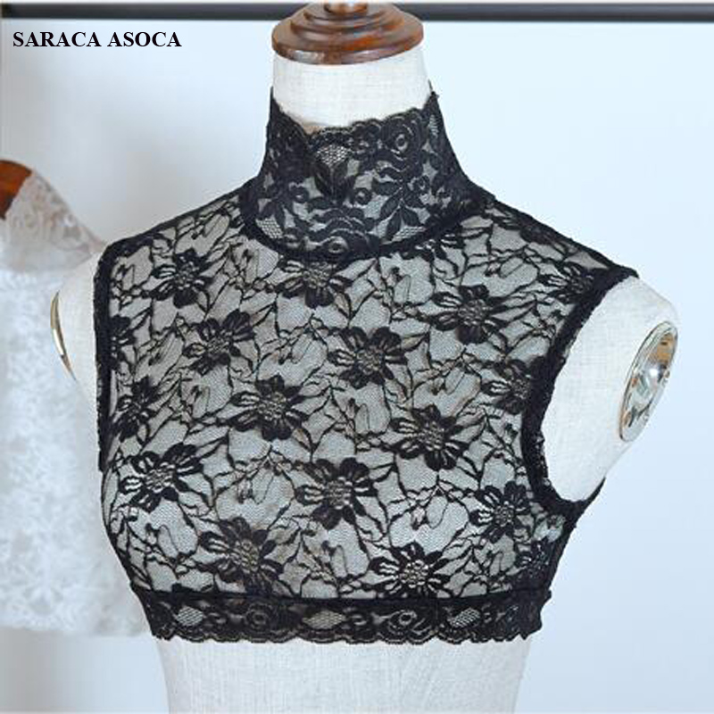 Fashion Lace Turtleneck Perspective Black Detachable Collars Women All Match Lace Sweater Faek Collar Lady A333