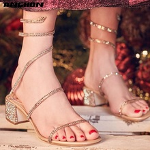 TINGHON Summer Crystal Gladiator Sandals Women Open Toe Square Heels Fashion Party Dress Snake Strap Shoes Woman