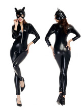 PLUS SIZE! New Latex catsuit sexy long sleeve black leather catsuit PVC sexy lingerie Latex Bodysuit Christmas New year costume