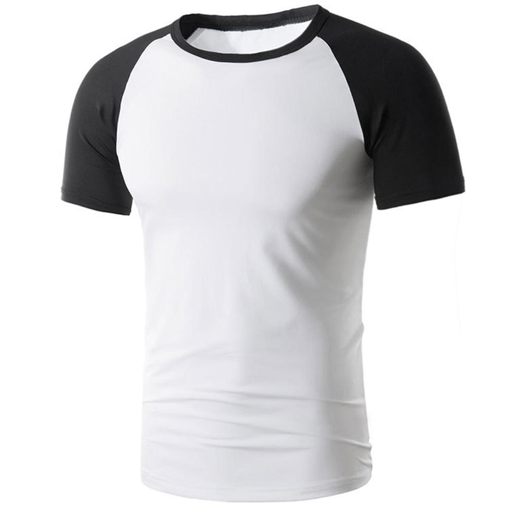 Casual Men's Summer Color Block Short Sleeve Round Neck Slim Fit T-Shirt Top new