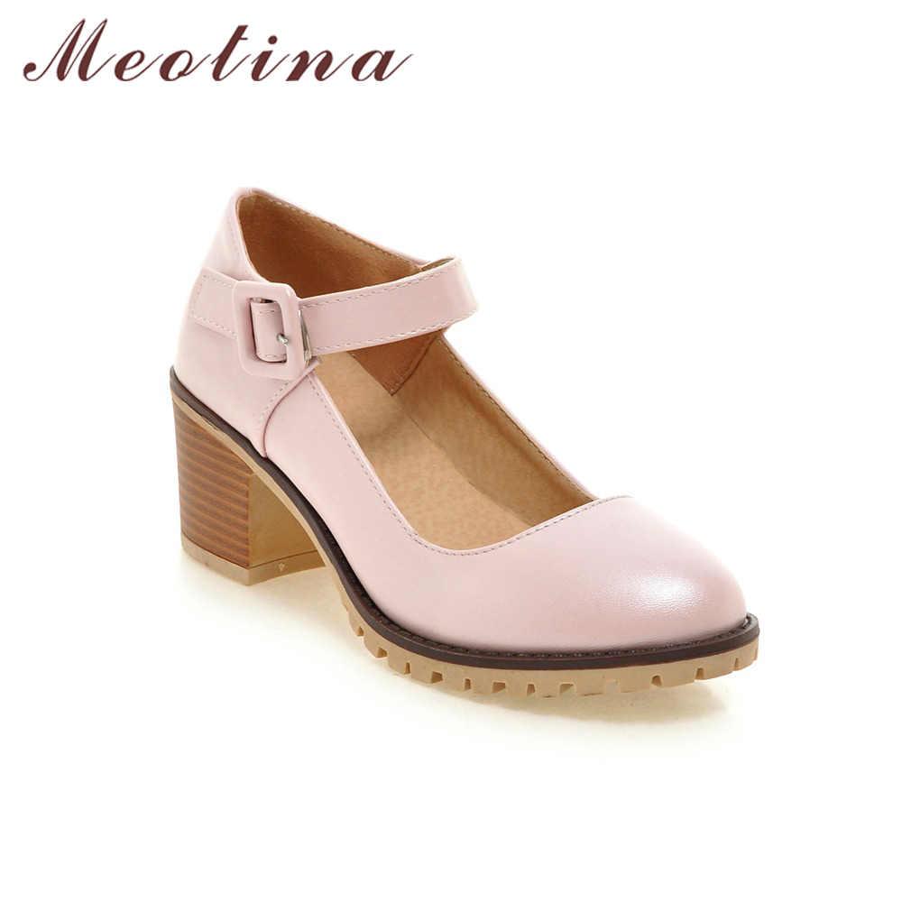 Meotina Ayakkabı Kadın Yuvarlak Ayak Bahar Pompaları Tıknaz Yüksek Topuklu Mary Jane Rahat Bayanlar Ayakkabı Kalın Topuklu Beyaz Bej Siyah 34-43