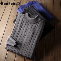 mens pullover sweaters 2018 Autumn new solid cotton Turtle neck sweater jumpers Winter male knitwear man jumpers men's clothes