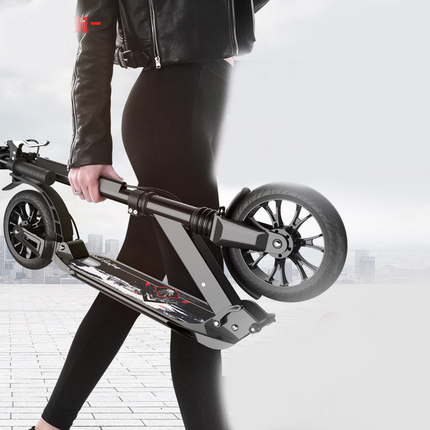 F15 Two-wheeled Adult Scooter With One Key Folding And Double Shock Absorption Aluminium Alloy Campus Female Walking Scooter