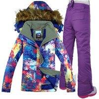 GSOU SNOW Women Ski Suit Ski Jacket Pant Windproof Waterproof Outdoor Sport Wear Winter Clothing Trousers Female Super Warm Suit