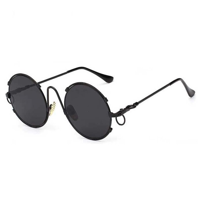 f6df0a30407 2016 New Retro Round Steampunk Sunglasses Women Men Vintage Circle Black  Silver Eyewear Top Quality Fashion Hipster Glasses D377