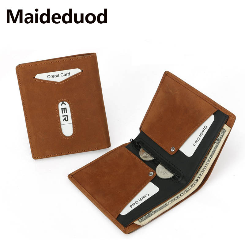 Crazy Vintage Style Hasp Men Horse Male Small Leather Purse Mini Wallets
