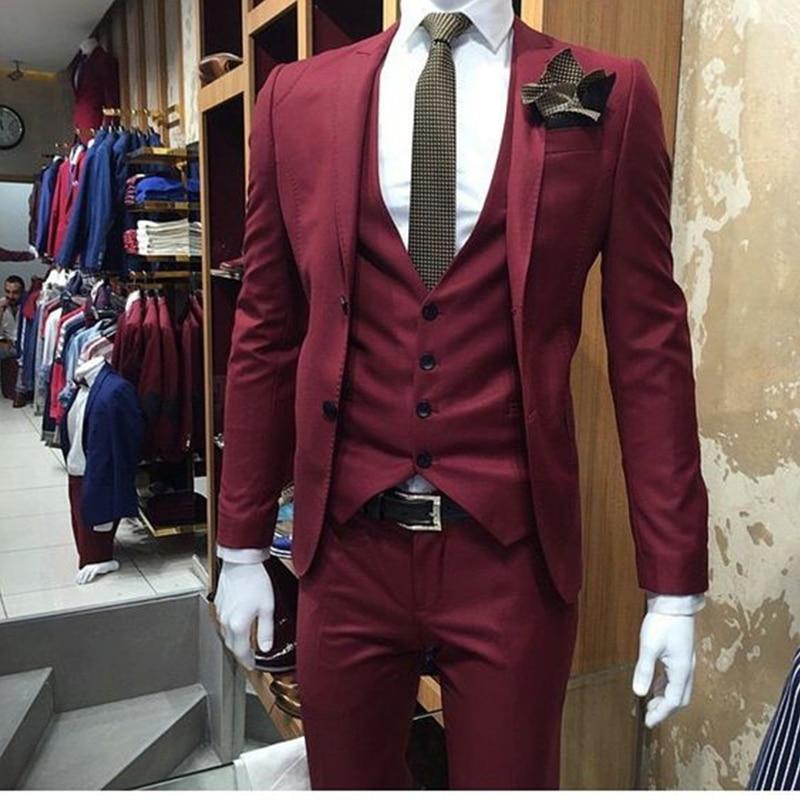 Good Deal New Burgundy Wedding Men Suit Slim Fit 3 Piece Tuxedo ...