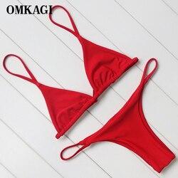 OMKAGI Brand Swimsuit Swimwear Women Biquini Sexy Push Up Micro Bikini Set Swimming Bathing Suit Beachwear Brazilian Bikini 2018