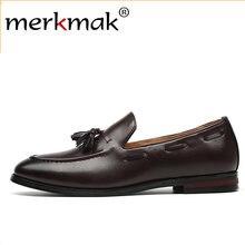 1e79ce89 Merkmak nuevos hombres mocasines borla PU zapatos de cuero Formal vestido elegante  zapato Simple Slip On