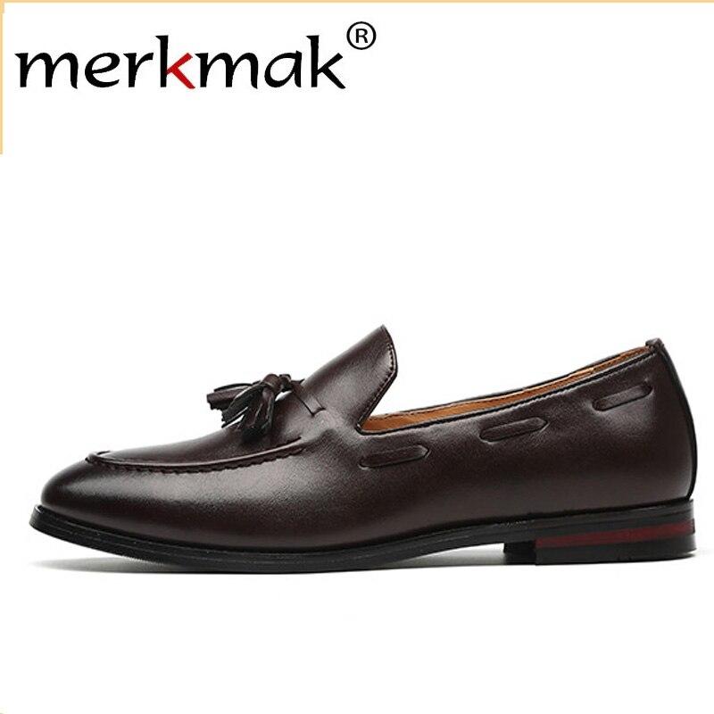 Merkmak Novos Homens Mocassins Borla PU Sapatos De Couro Formais Vestido Elegante Sapato Simples Deslizamento Homem Calçados Casuais Tamanho Grande 48 47 46