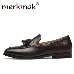 Merkmak novos homens borla mocassins couro do plutônio sapatos formais vestido elegante sapato simples deslizamento no homem calçados casuais tamanho grande 48 47 46