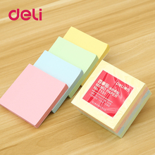 цены на Deli 4pcs/set Office Stationery Sticky Notes Square Soild Color Memo Pad 400 Pages Sticker Bookmark Point It Marker Memo Sticker  в интернет-магазинах