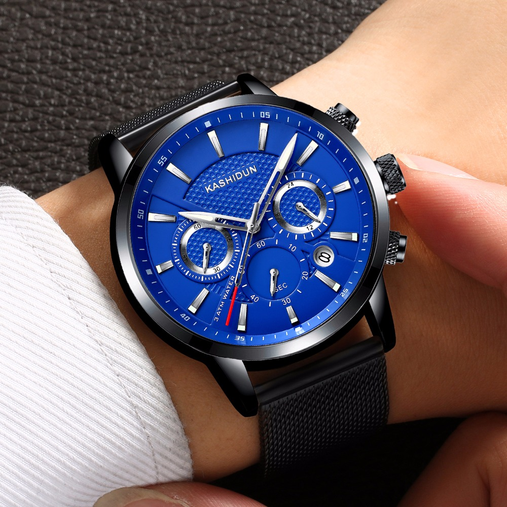 KASHIDUN Luxury Brand Mens Sports Watches Waterproof Military Watch Men Fashion Casual Quartz Wristwatches Mesh Alloy Bracelet 2016 biden brand watches men quartz business fashion casual watch full steel date 30m waterproof wristwatches sports military wa