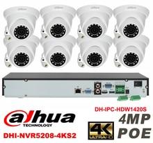 Dahua original onvif 8CH 4MP H2.64 DH-IPC-HDW1420S 8pcs CCTV Network camera POE DHI-NVR5208-4KS2 Dome IP security camera kit