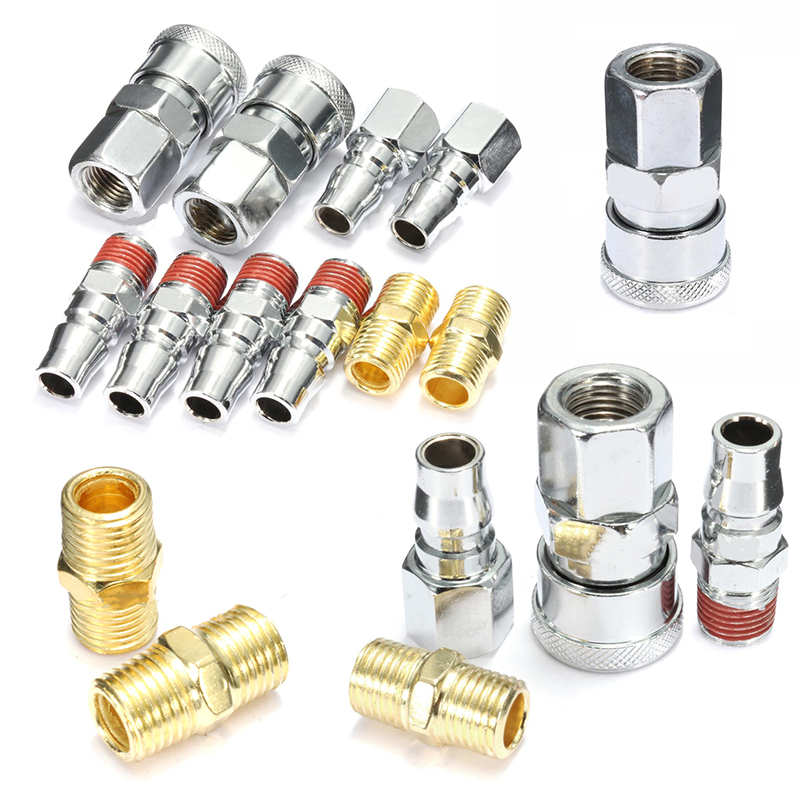 New 10 Pcs Quick Coupler Fittings 1/4 Inch Air Hose Connector Fittings Pneumatic Quick Fitting Plug Corrosion Resistance Metal