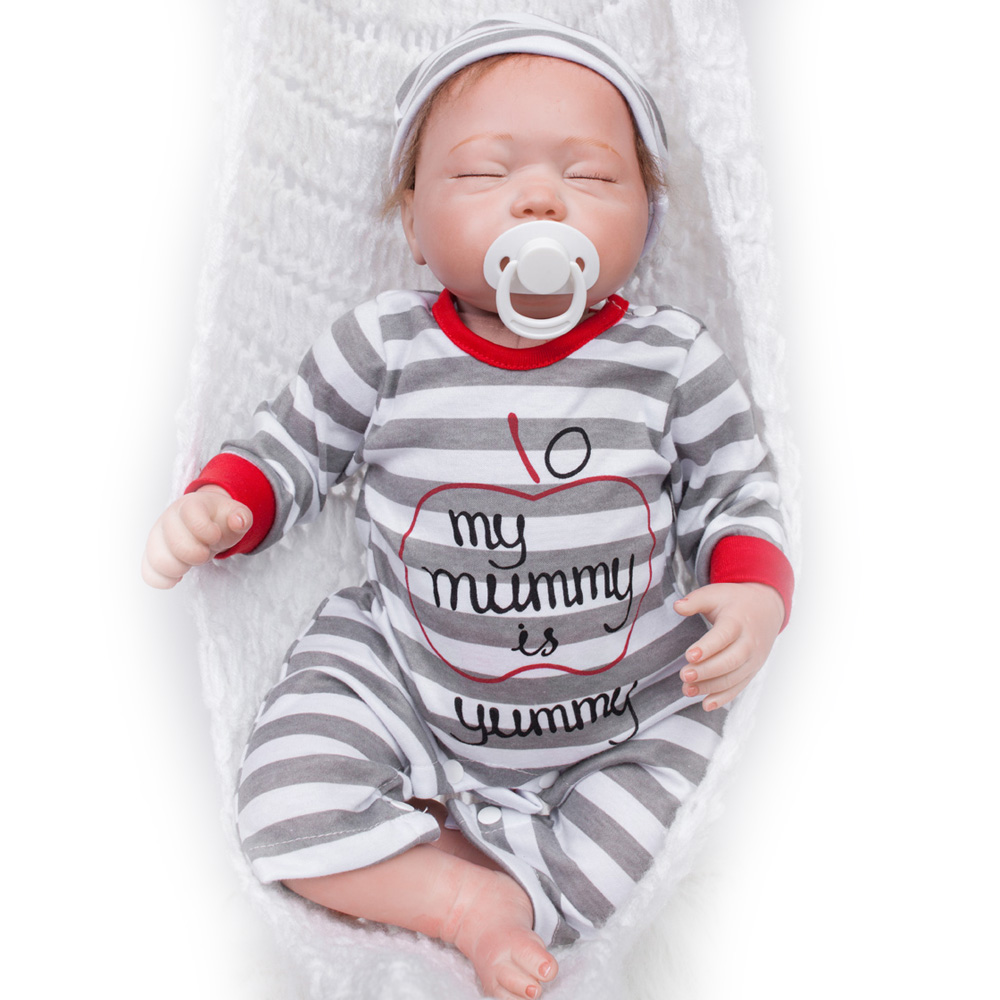 45-50CM Silicone Doll Reborn Baby boy realistic Handmade Cloth Body Reborn Babies Doll Toys Baby Growth Partners Best kids Gift partners cd