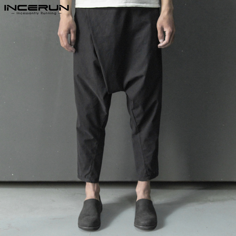 INCERUN 2019 Brand Men Pants Vintage Cotton Hip-hop Button Drop Crotch Harem Pants Men Streetwear Joggers Solid Harajuku Trouser