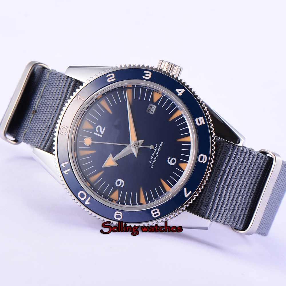 41mm debert blue sterile dial luminous ceramic bezel miyota Automatic mens Watch Luxury Brand Top Mechanical Watches