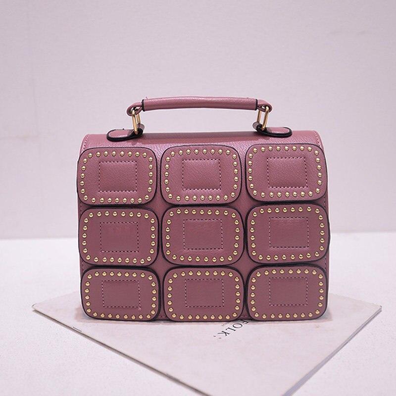 2016 New Fashion Chic font b Handbag b font Women Rivet Plaid Wafers Flap Small Bag