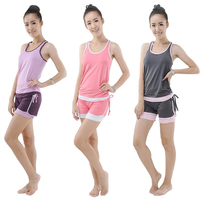 Women's Yoga Sets Sportwear Suits Running Gym Yoga Vest and Shorts Womens Elastic Fitness Shirt Vest Ladies Tank Top for Woman