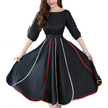 2019 Spring New Women Half Sleeve Loose Flavour Black Dress Long Summer Vestido Korean Fashion Outfit O Neck Big SALE Costume