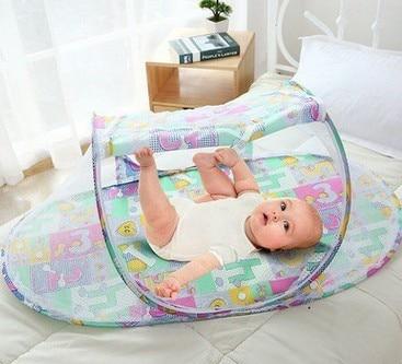 طفل المهد الستارة ناموسية الرضع السفر المحمولة سرير سرير علة البعوض صافي