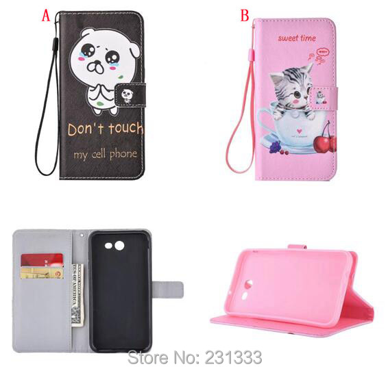 Cartoon Strap Wallet Leather Case For Samsung Galaxy J7 J3 J5 A3 A5 2017 Huawei P8 LITE Stand Card Bear Sweet Time Cover 100pcs