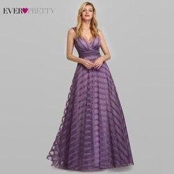 Сексуальное Лавандовое платье для выпускного вечера, длинное красивое платье Ever Pretty EP07898LV А-силуэта с v-образным вырезом, в полоску, элегантн...