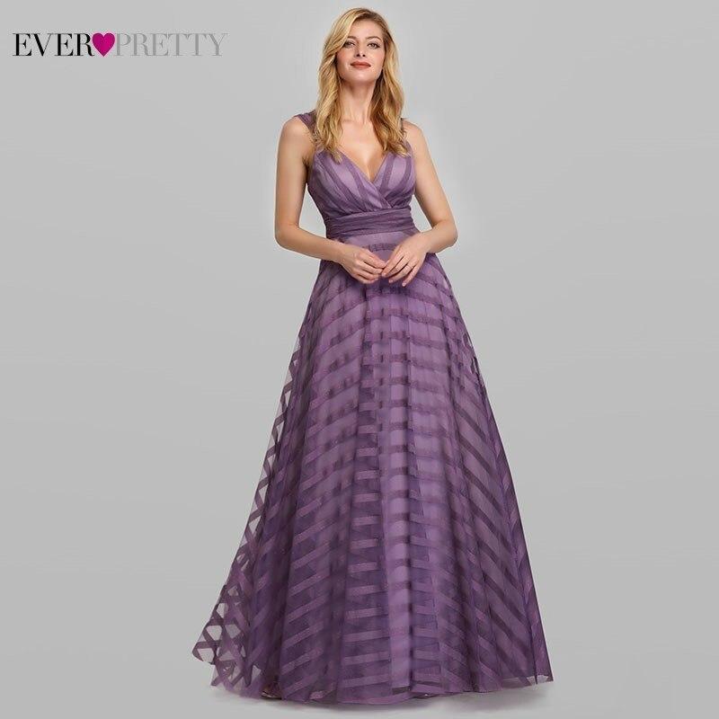 Sexy Lavender Prom Dress Long Ever Pretty EP07898LV A-Line V-Neck Striped Elegant Formal Party Dresses Vestidos De Gala 2020
