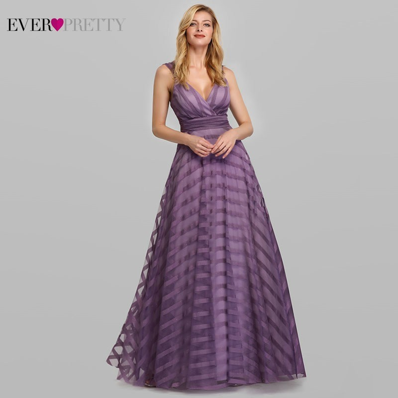 Sexy Lavender   Prom     Dress   Long Ever Pretty EP07898LV A-Line V-Neck Striped Elegant Formal Party   Dresses   Vestidos De Gala 2019