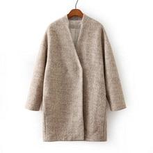 Women Middle Long Oversized Wool Jacket Coat New Fashion Apricot Long Sleeve Loose Woolen Female Overcoat Casaco Feminino A1355